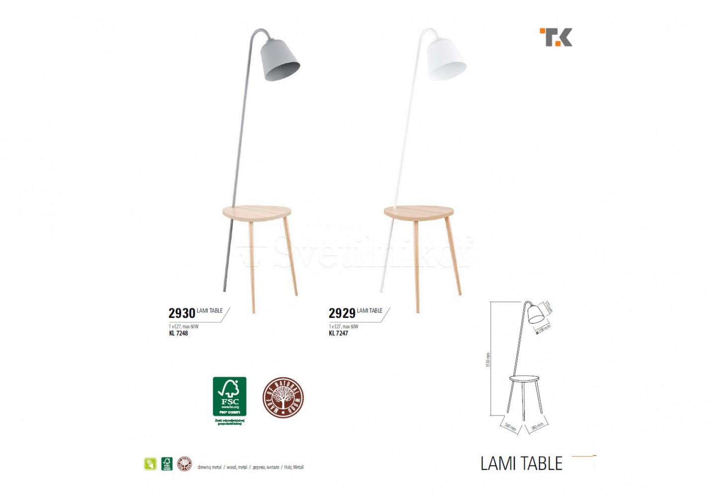 Торшер LAMI TAB GR TK-Lighting 2930 - 2